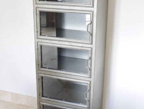 Industrial cabinet glass doors.