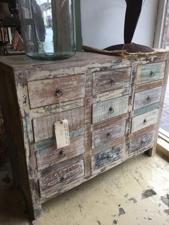 Vintage Style 12 Drawer Hardwood Storage Chest ...