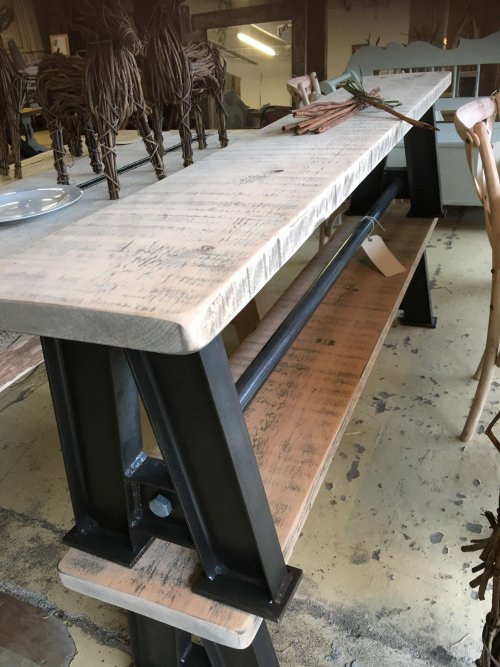 industrial, bench, seating reclaimed timber wood