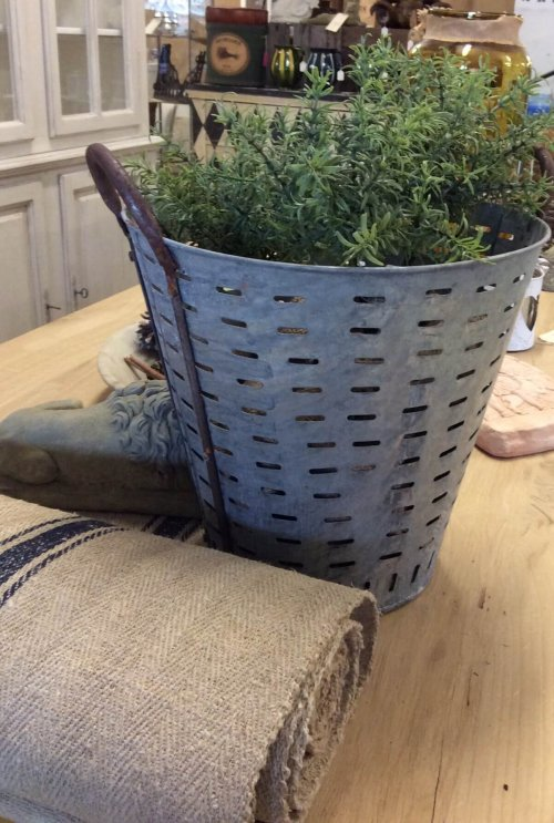 Metal Olive bucket £39 (£42 including P&P). These are galvanised steel body with rusted iron handles. vintage