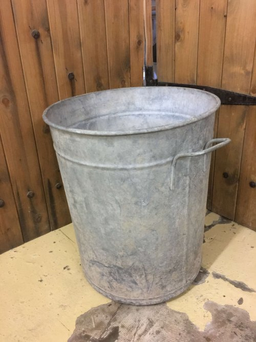 pot planter metal steel vintage industrial old