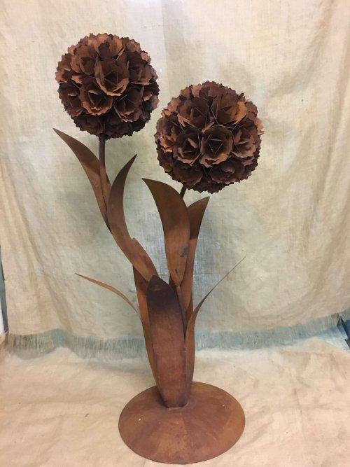 metal flower back in stock rusty industrial vintage very large