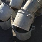 galvanised metal steel pots planters bins industrial vintage old