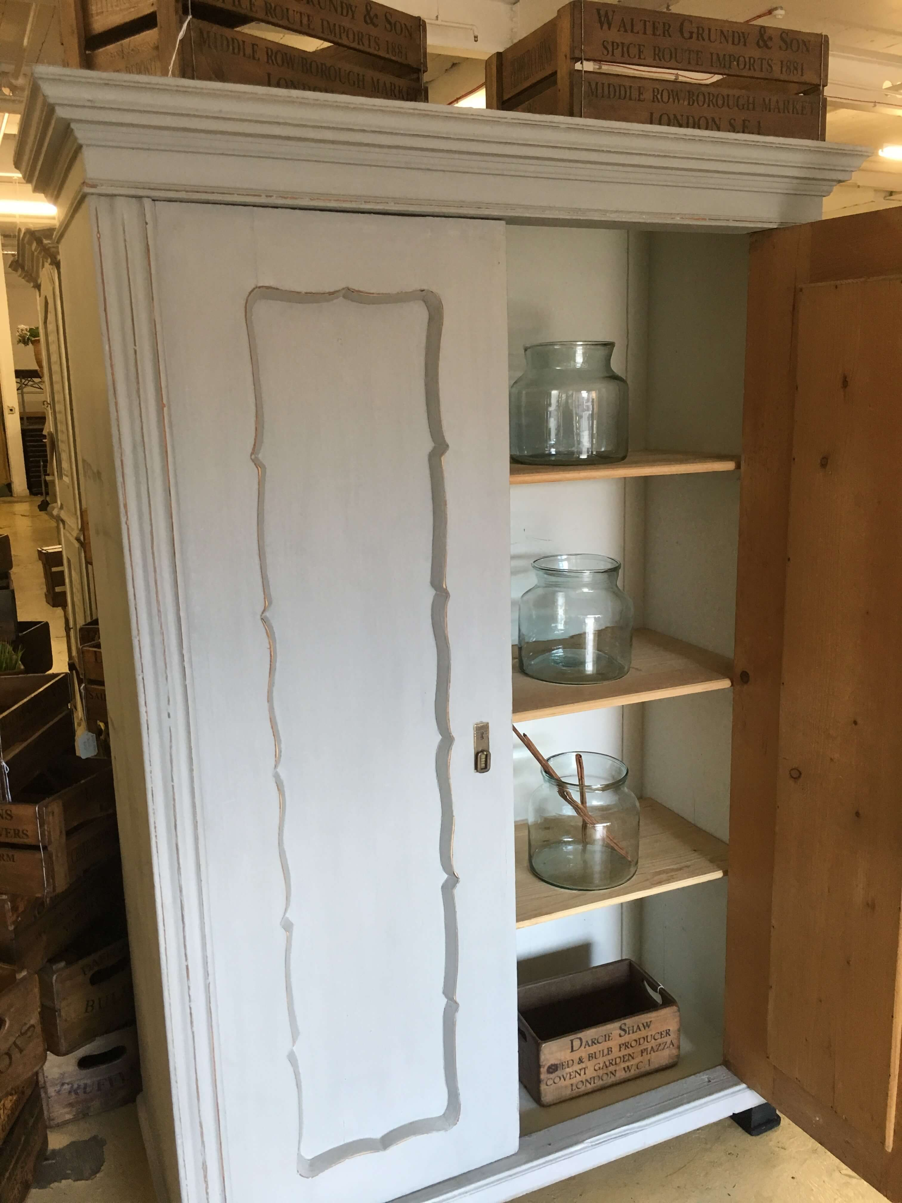 hand french shop grey cupboard vintage painted sold cabinet home barn