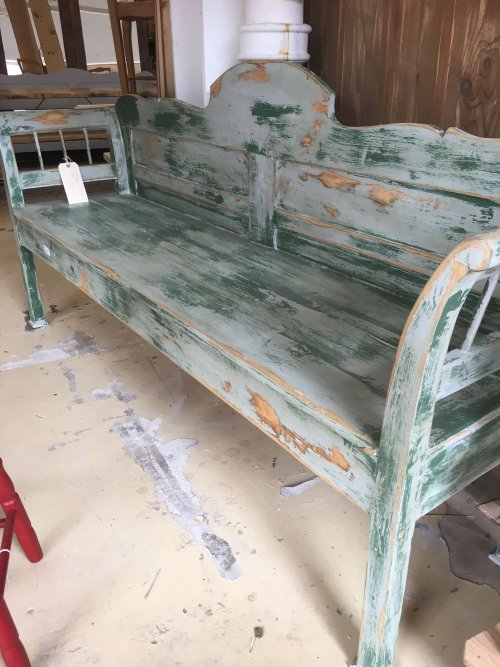 Original vintage French painted bench.