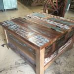 Table with lift up lid, from reclaimed wood. Great vintage look.