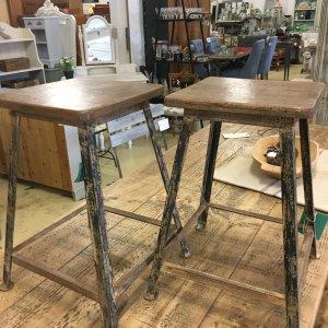 Vintage style, Metal stools, reclaimed wooden tops