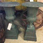 vintage Cast Iron green urns garden interior