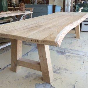 Waney living edge oak table dining large oak waney living edge