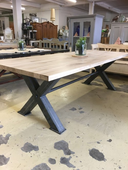 oak table steel industrial dining