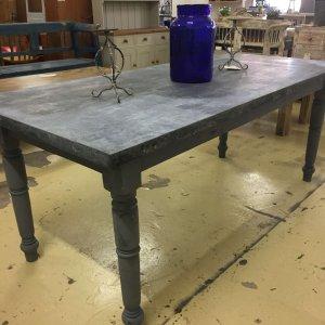 table vintage metaltop industrial