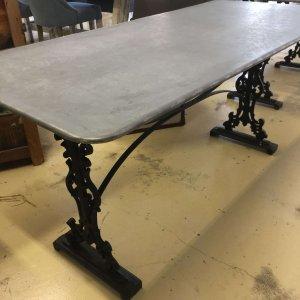 metal table, galvanised top.