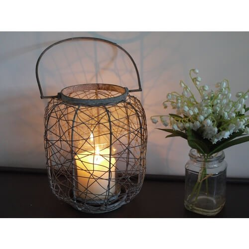lantern: Wire, with glass cylinder