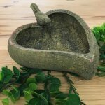 Stone Bird Bath. Heart shaped with a little bird on the side.Produced for us in Devon by a small artisan company. Great for the smaller garden or terrace space