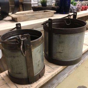 Vintage Metal Buckets Vintage Style Metal Buckets galvanised steel and wrought iron.