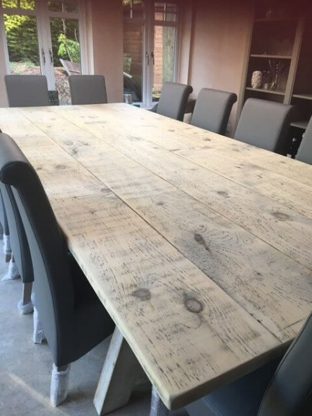 Large Dining Table delivered today, 3m x 1.5m. Stripped reclaimed boards with a matt varnish finish to seal, while leaving it with that stripped look affect and totally wine proof!!