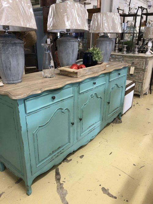 Painted Sideboard with a stripped oak top. See the pictures for more detail. The body is painted in a vivid duck egg green. A stunning piece with a variety of possible uses. vintage style storage