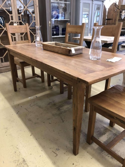 a selection of dining tables Elm Wood Dining Table 180cm x 85cm. Beautiful colour, patina and grain. Reclaimed timber. See pictures for more detail. £875.