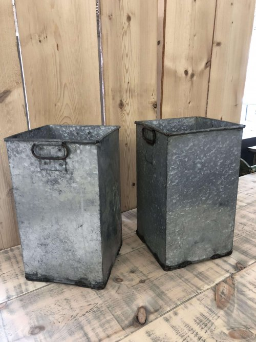 Vintage Galvanised Containers, pots, bin metal these are a very unusual shape and a pair! They would make wonderful planters