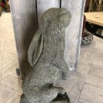 Stone Rabbit beautifully made from stone for us in a small artisan workshop in Devon. Perfect fro the garden or indoors. garden stone statuary