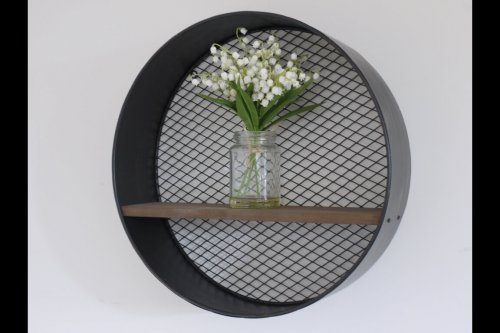 Industrial Style Metal Shelf vintage Style Metal Shelf with a round metal frame, mesh back, and wooden shelf. Camberley surrey shopping