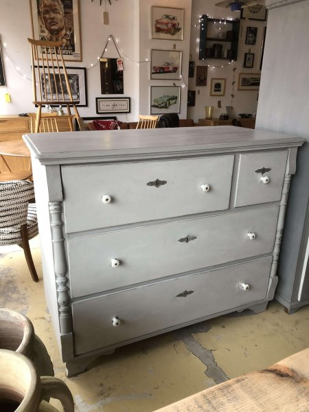 Painted French Chest Of Drawers just arrived , vintagevery unusual draw configuration. Big deep drawers, fantastic storage! £420. Available now, on show on the shop floor.