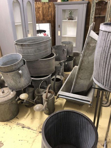 Original Vintage Galvanised Pots Baths vintage antique reclamation camberley surrey check the pictures of new finds being unloaded today!! All original pots, baths and watering cans from France and Holland. Fantastic quality galvanised metal.