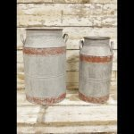 Vintage Style Metal Churns from arkvintage these vintage style metal churns have a charming look and patina. garden camberley surrey planters churn