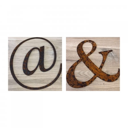 """Metal Letters Home Gardens we have a """"&"""" and a """"@"""" on arkvintage.com to shop and buy now. These are beautifully lazer cut from steel they have been left to naturally rust giving a rustic look. Perfect for home and or gardens."""