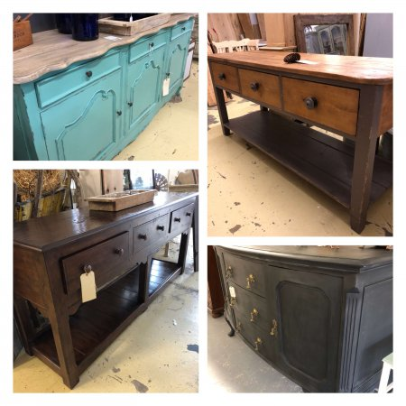 Sideboard Storage Solutions from arkvintage.com. We all need to store our stuff! These are some of the solutions in store now. Also great display or work space on top. Note we are closed every Tuesday.