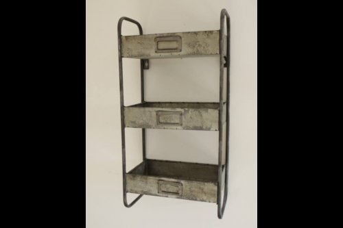 Metal Shelf Industrial Style from arkvintage. 3 tier unit with draw type shelves. Useful piece with a great urban look. Available to purchase online now. P&P £5. buy shop online galvanised metal shelving arkvintage camberley surrey