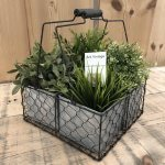 4 Pot Planter from arkvintage.com. Very vintage looking wire and galvanised metal planter with 4 square pots. They beautiful indoors and in the garden. shop buy online camberley surrey vintage interiors
