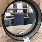 Round Metal Mirror from arkvintage.com. Round galvanised metal frame mirror with a gritty industrial look and feel. See pictures for more detail. Buy now online. vintage camberley surrey shop buy now online