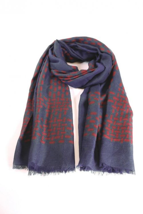 Scarf With Dot Block Design from arkvintage a more heavyweight scarf with a dot/block design border. Classic, smart and stylish. Available in 2 colours, see pictures for detail. shop buy online in store camberley surrey msh