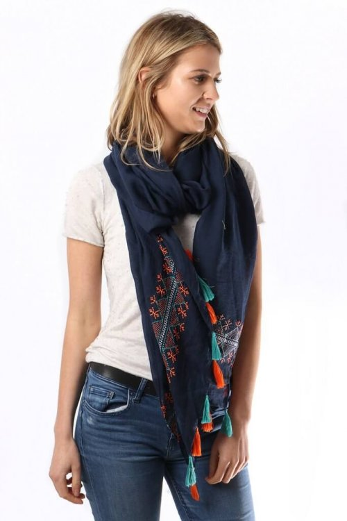 Scarf Stitched Detail Tassels teacher presents gifts msh from arkvintage, a stunning scarf with eye an catching design, flowing lightweight feel with stitched detail and tassels. Available in 4 colours. shop buy now online or in store camberley surrey