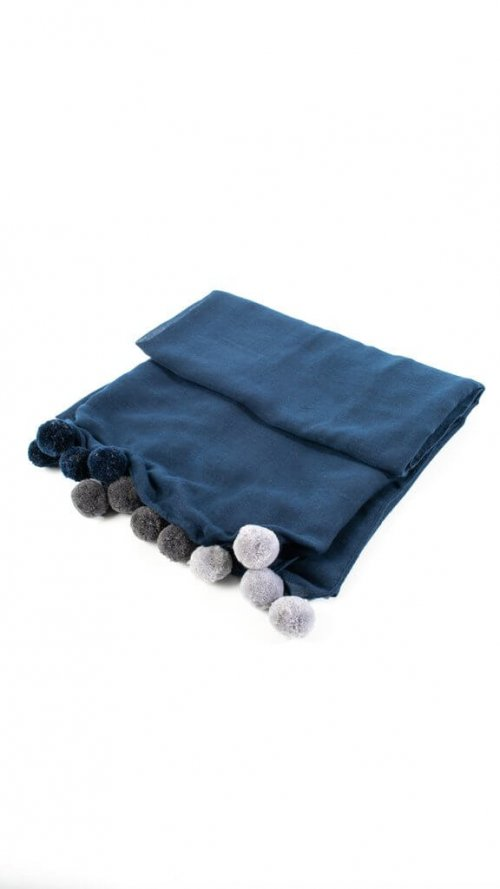 Scarf With Pom Poms at arkvintage. A beautifully designed scarf. It comes in 2 colours, navy blue and dark grey with pom poms at each end. Shop and buy online or in store, Camberley Surrey.