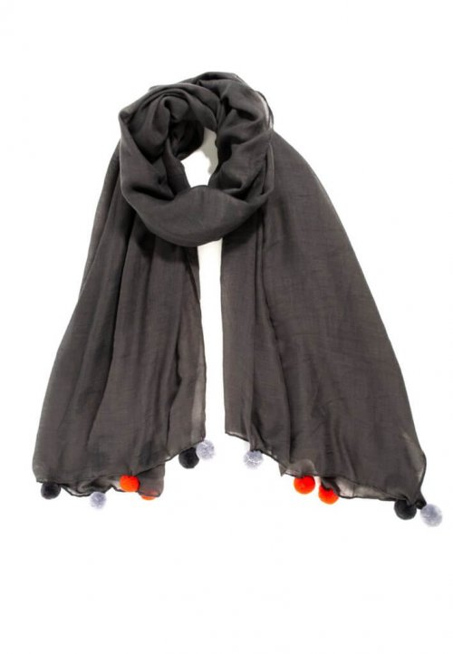 Scarf 3 Colour Pom Poms at arkvintage. Perfect gift ideas available online and in store. A dark grey scarf with large orange, light and dark grey pom poms at each end. Available online and in store, Camberley Surrey.