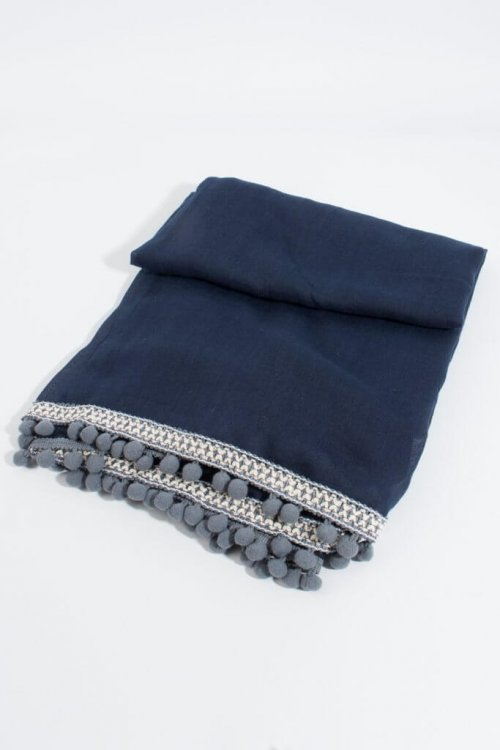 Scarf Aztec Trim With Pom Poms at ark vintage. A navy blue scarf with an Aztec trim and little grey pom poms round the edges. Sophisticated, smart and with a hint of fun that shows the rebel in you. Buy online or in store, Camberley Surrey.