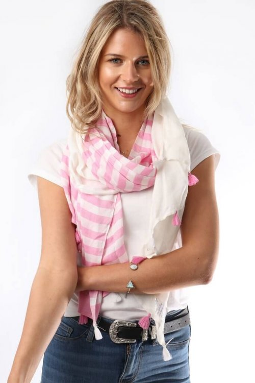 Fabulous New Range Of Scarves Navy Pink Tassels msh arkvintage, withpink or navy shop and buy now online or in store- with off white half and half stripes throughout, adorned with alternating tassels.