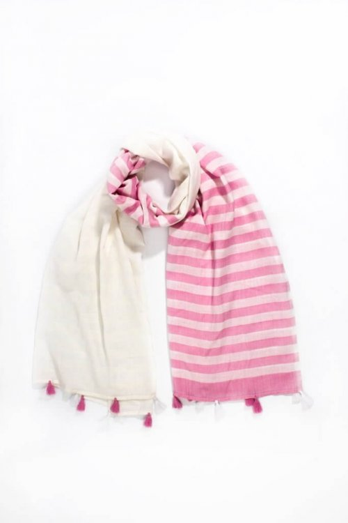 Scarf Navy Pink Tassels arkvintage, available in pink or navy with off white half and half stripes throughout, adorned with alternating tassels. shop buy now online or in store camberley surrey
