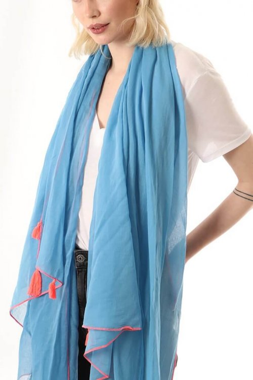 Scarf With Tassels at ark vintage. A plain cotton scarf with a tassel detail at each corner.This lightweight design can also be worn alternatively as a sarong. Available in 2 colours: blue with a neon coral stitching and grey with neonyellowstitching.