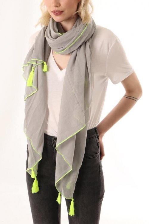 Scarf With Tassels msh at ark vintage. A plain cotton scarf with a tassel detail at each corner.This lightweight design can also be worn alternatively as a sarong. Available in 2 colours: blue with a neon coral stitching and grey with neonyellowstitching. shop buy online camberley surrey msh