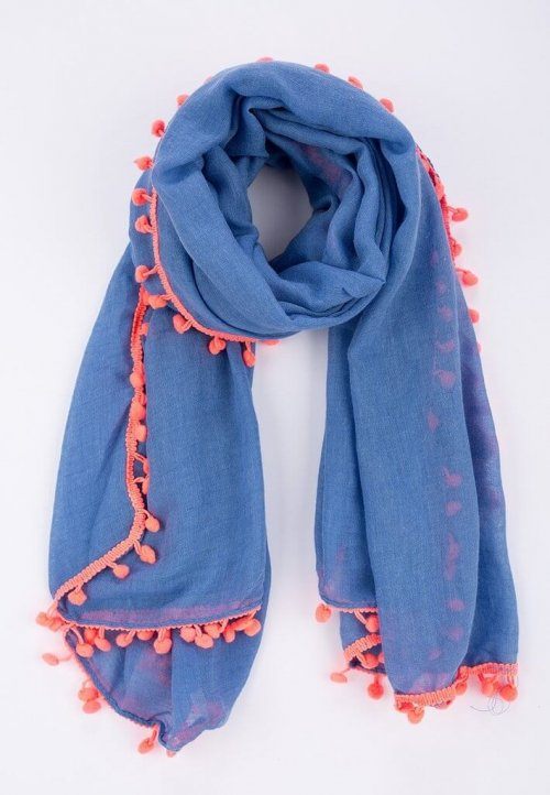 Scarf Blue With Pom Poms Two Colour Ways. The ever popular navy blue scarf with neon pink or yellow pom poms. This one is beautiful with a sense of fun and oozing style!