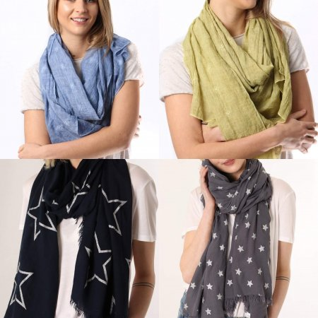 Scarf With Star Designs Design Scarfs In Stock With Star Designs MSH stockist from arkvintage. 4 Scarves available in different colours and star patterns. Available online and in store, Camberley Surrey. Price includes P&P.