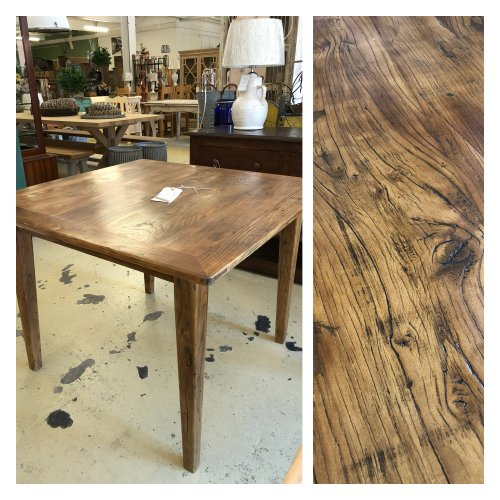 Dining Table New Stock, just arrived 100cm x 100cm square from reclaimed elm wood. Beautiful aged look. In store now. £395. Legs can be removed for transport or we can arrange delivery.