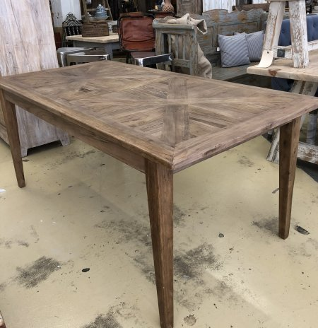 Reclaimed Parquet Table from arkvintage. Beautiful reclaimed boards make the top of this table a real feature! Just arrived in Camberley's largest home and garden store!