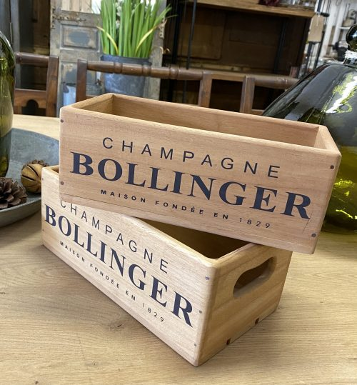 box boxes wood wooden stencilled printed bollinger tiffany moet champagne storage decoration interior design
