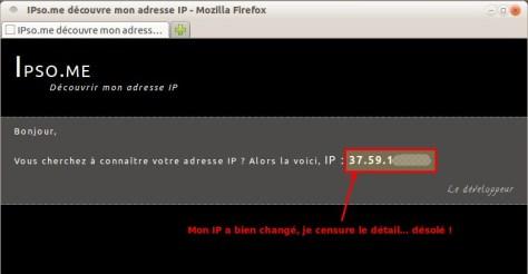 IPso.me découvre mon adresse IP - Après proxy