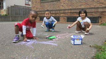 The preschool class took advantage of the nice weather by doing some chalking!