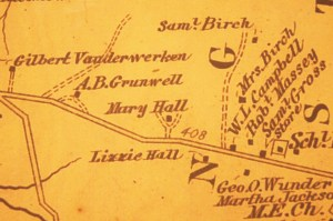 Mary Ann Hall's farm as pictured on a Civil War era map of the area.